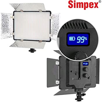 Simpex LED 720 with Barndoor – Professional Ultra Slim, Dual Color LED Video Light with Battery and Charger