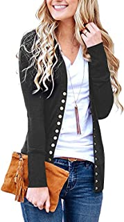 Women's S-3XL Solid Button Front Knitwears Long Sleeve...