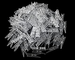 50 Pcs Clear Plastic Clothes Line Clips Mini Paper Photos Clip Clothespins Clip Hanger Clips Spring Hanging Clips Clamps