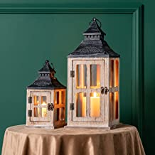 DECORKEY Decorative Candle Lantern, Pack of 2 Wood Metal Hanging Lantern, Rustic Tabletop Lantern, Candle Holders for Outd...