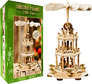 German Christmas Decoration Pyramid - 18 Inches - Wood Nativity Scene Set-Under the Christmas Tree - Table Top Holiday Decor - 3 Tiers Carousel- 6 Candle Holders - German Design (18 Inches, Natural)