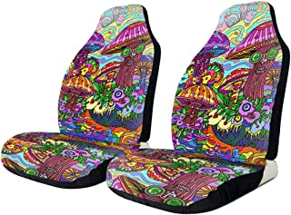 NG-1 Psychedelic Acid Trippy Smoke Mushrooms Hippie Art Car Seat Cover Protector Cushion Premium Covers for Women, Men, Girls, Boys Fits Most Cars, Truck, SUV Or Van