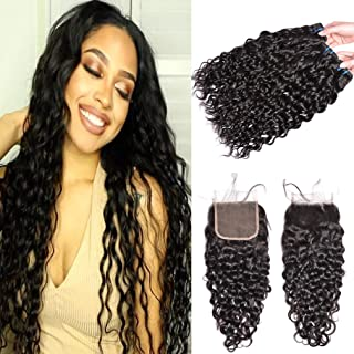 GEM Beauty Brazilian Wate Wave Hair With Closure 3 Bundles Human Hair With Closure Water Wave Wet and Wavy Hair Brazilian Virgin Hair Bundles Natural Black (16 with 18 20 22)