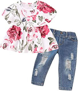 Baby Girl Clothes 2PCS Ruffle Outfits Long Sleeve Floral Shirt Tops+ Denim Pants Ripped Jeans for Girls