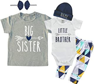 Personalized Big Sister/Little Brother Set. Matching Big Sister Little Brother Set 0-3Mo Bodysuit & 2T Shirt