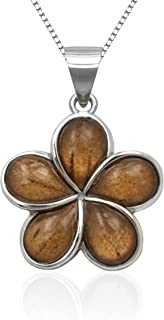 Sterling Silver Koa Wood Plumeria Necklace Pendant with 18