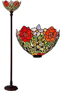 Bieye L30398 72 pulgada Rosa Torchiere - Lámpara de pie del vitral del estilo de Tiffany