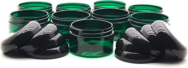 J&S Empty Gift Jars - 4oz Plastic Containers With Lids - Clear 4 Ounce Slime Containers and Beauty Products Jars - BPA Free - 9 Pack (Green)