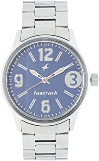 3001SM06 - Fastrack ANALG Men's, 50m Water Resistant, Metal, Silver with Blue Dial