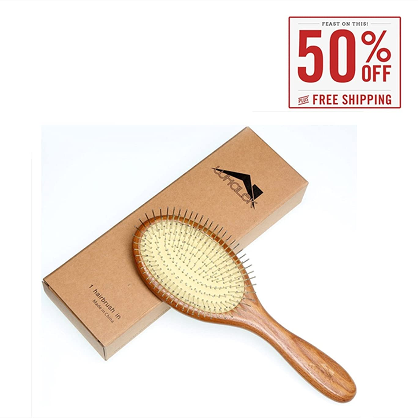Wooden Hair Brush Comb with Airbag Stainless Pin, Improve Hair Growth Scalp Massage Comb for Women Men and All Types of Hair (9.84