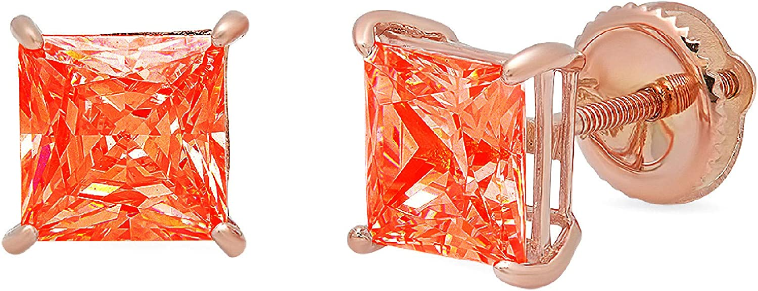 Clara Pucci 1.50 ct Brilliant Princess Cut Solitaire VVS1 Flawless Red Simulated Diamond Gemstone Pair of Stud Earrings Solid 18K Pink Rose Gold Screw Back