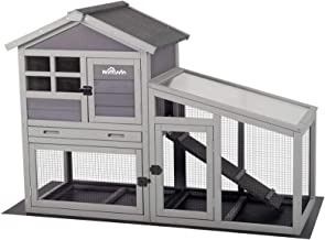 Aivituvin Rabbit Hutch Indoor and Outdoor,Rabbit cage with Deeper No LeakageTray, Bunny Cage with Removable Bottom Wire Me...