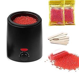 Waxing Kit Wax Warmer Women Men , Non-Stick Waxing Machine, Wax Beans & 10 Wax Applicator Sticks Painless Home Wax Heater Compatible Legs, Hands, Underarms, Face, Bikini