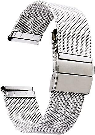 dd43727e6e [ZHUGE] ソリッド メッシュ 腕時計用ベルト ステンレス ミラネーゼ ベルトプッシュボタン式 バックル メタル