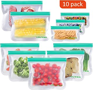 Reusable Ziplock Bags, 10 Pack BPA Free Freezer Bags (2 Extra Big Lunch Bags + 5 Sandwich Bags + 3 Snack Bag), Reusable Storage Bags for Food, Lunch, Make-up, Travel, Home Organization
