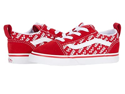Vans Kids Old Skool Elastic Lace (Infant/Toddler) ((Logo Repeat) Racing Red/True White) Kids Shoes