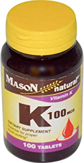4 Pack Special of MASON NATURAL K VITAMIN 100 MCG TABLETS 100 per bottle