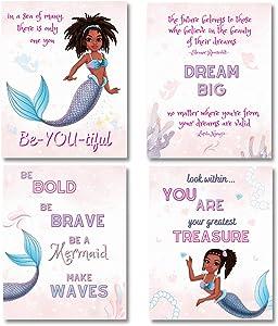 Mermaid Room Decor For Girls Bedroom, Black Girl Wall Art, 8x10 UNFRAMED, Mermaid Decor for Girls Room, Unicorn Wall Decor, Mermaid Decor For Girls Bedroom, Mermaid Pictures Wall Art, Black Mermaid