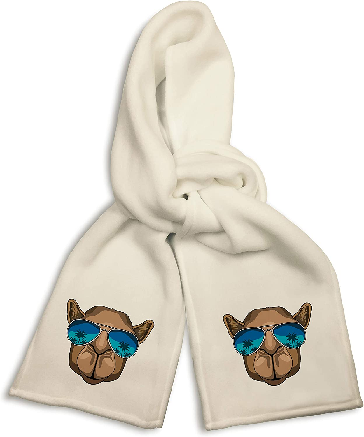 White Winter Scarf - Camel Wearing Sunglasses Palm Tree Reflection
