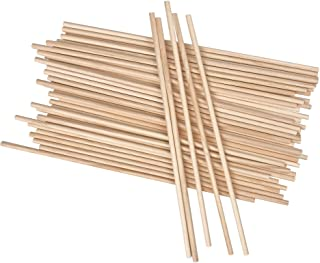 Long Wood Dowel Rods Unfinished Natural Wood Craft Dowel Sticks 50 Pack 1/4 Inch x 12 Inch