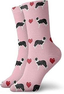 花ピンクボーダーコリーラブハーツかわいい犬の生地_7368 絵画アートプリント面白いノベルティ動物カジュアルコットンクルーソックス11.8インチ