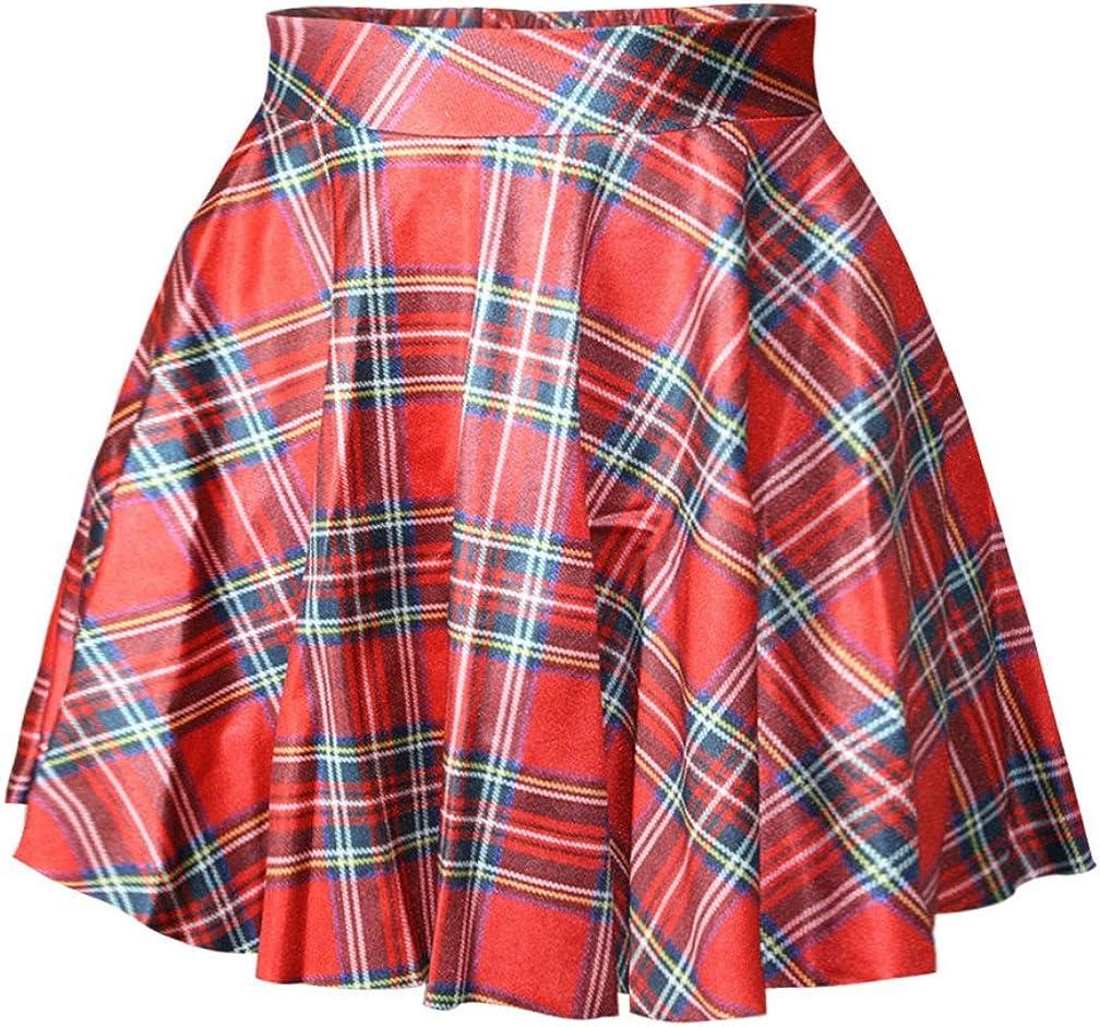 JJEUWE Womens Digital Print Stretchy Flared Pleated Casual Mini Skater Skirt