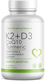 Vitamin D3 2000IU and K2 with Turmeric and COQ10 - Heart, Bone, Cellular Health Support with 10mg Avocado Powder for Bette...