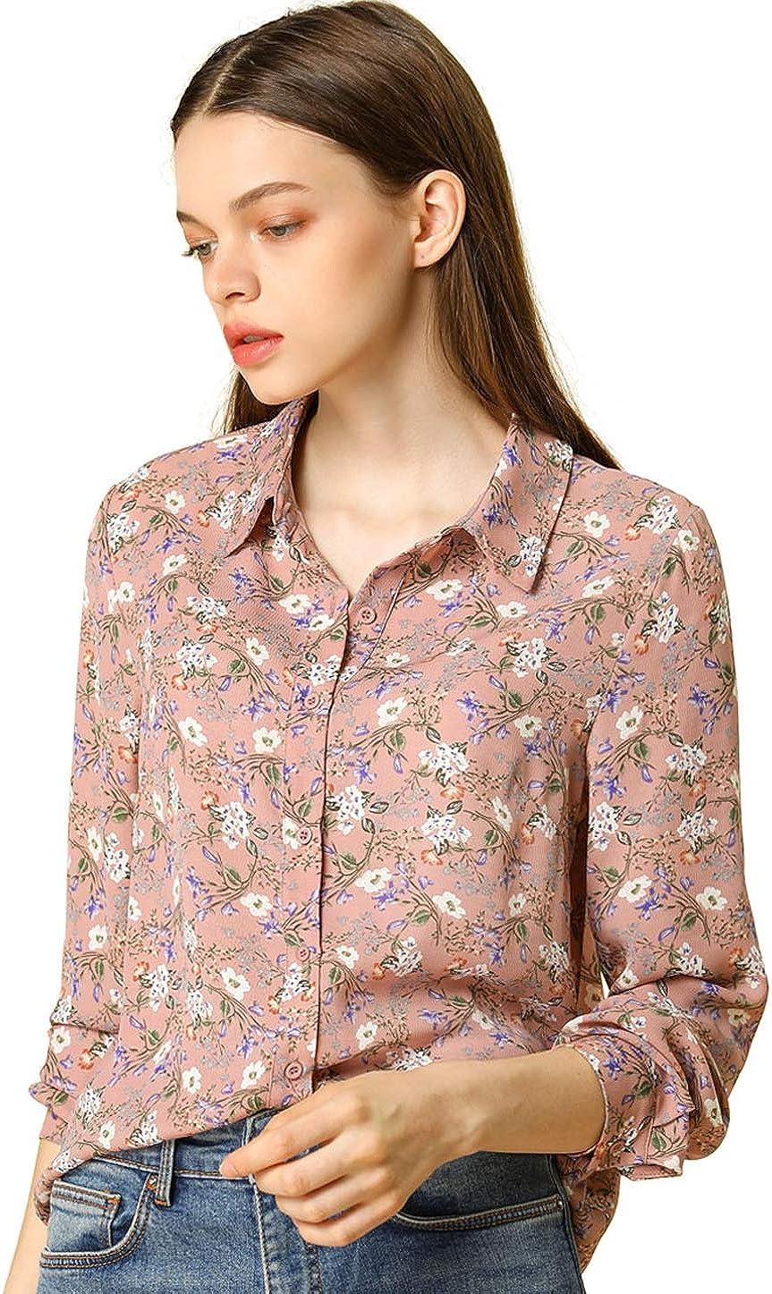 Allegra K Women's Button Down Floral Shirt Blouse Long Sleeve Point Collar Top
