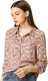 Allegra K Women's Long Sleeve Button Down Ditsy Floral Shirt