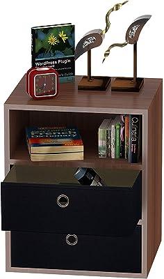 Klaxon Statice Three Drawer Storage Cabinet with Two Fabric Box (Walnut and Black)