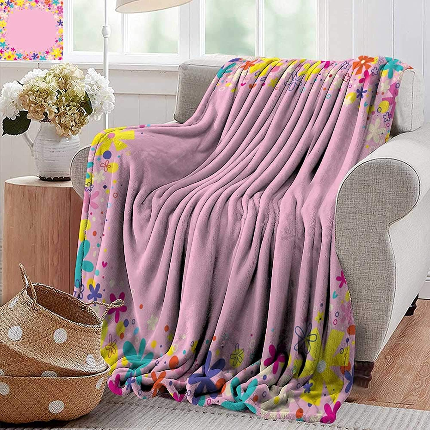 PearlRolan Throw Blanket,Kids Party,Girls Birthday Design with Doodle Style Blooming Flowers on Pink Backdrop,Pink Multicolor,Sofa Super Soft, Plush, Fuzzy Microfiber Throw Reversible,Comfy 35 x60