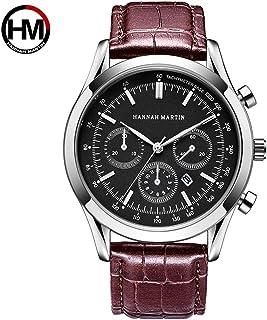 HANNAH MARTIN メンズスポーツカジュアルウォッチ多機能三眼装飾防水機械ベルト腕時計 (赤ブラウン)