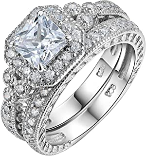 Newshe Women Wedding Engagement Ring Set 925 Sterling Silver Vintage Princess White AAA Cz Size 5-10
