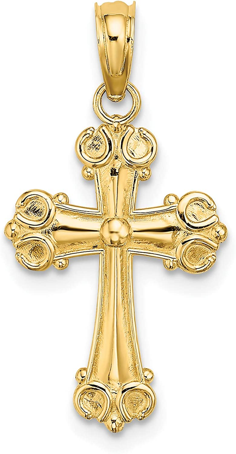 Spasm price 14K Yellow Gold Year-end annual account Cross W Scroll and Button Tips Charm Center