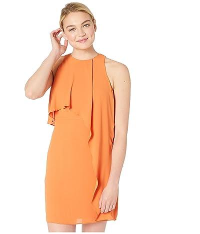 Halston Heritage Sleeveless High Neck Dress with Drape Overlay (Sunset 2) Women
