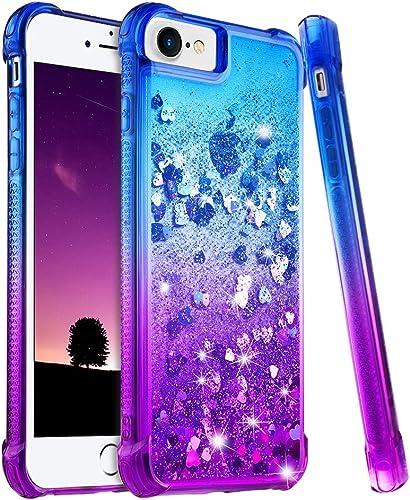 Ruky iPhone 6 6S 7 8 Case, iPhone SE 2020 Case, iPhone 6s Glitter Case, Gradient Quicksand Series Bling Flowing Liqui...