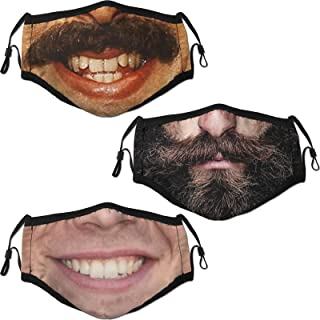 Funny Face Mask 3 Pack for Adults Face Balaclava Reusable with 6 Filter for Men Women