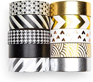 UNIQOOO 10 Rolls Adhesive Washi Tape Masking Tape Set, Metallic Foil Gold Silver Black, 32 Feet Each Roll- Perfect for Crafting DIY, Gift Wrapping, Scrapbook, Bullet Journal, Back to School Supplies