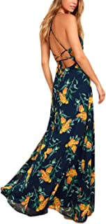 NERLEROLIAN Women's Sleeveless Halter Neck Sexy Floral Print Maxi Casual Dress for Autumn