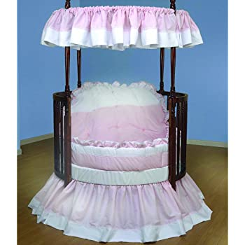 Baby Doll Bedding Regal Round Crib Bedding Set, Pink