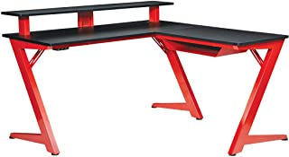 OSP Home Furnishings Avatar Battlestation LED Lit L-Shape Gaming Desk, Red