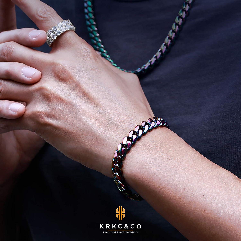 KRKC/&CO 10mm Men/'s Miami Link Bracelet 18K Gold Plated//Stain Silver Stainless Steel Chain Bracelet Hip Hop Bracelets Anti-Allergies Anti-Tarnish for Men Homme