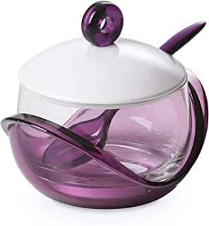 Cheese or sugar bowl with transparent glass container, base, lid and plastic spoon Purple, ergonomic and innovative design, Trendy line by Omadadesign