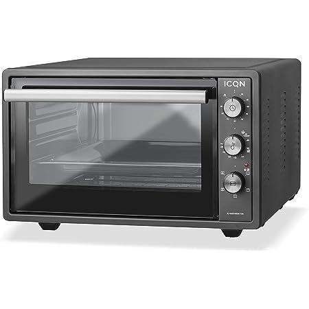 ICQN Mini four de 42 litres avec éclairage intérieur et recirculation | Mini four à pizza | Double vitrage | Fonction minuterie | Émaillé | Anthracite