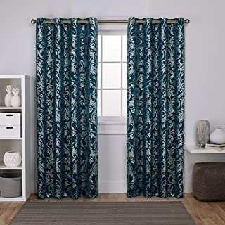 Exclusive Home Curtains Watford Distressed Metallic Print Thermal Window Curtain Panel Pair with Grommet Top, 52x108, Peacock Blue, Silver, 2 Piece
