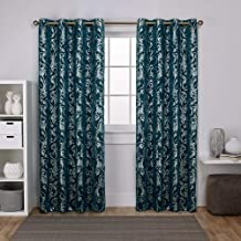 Exclusive Home Curtains Watford Distressed Metallic Print Thermal Window Curtain Panel Pair with Grommet Top, 52x84, Peacock Blue, Silver, 2 Piece