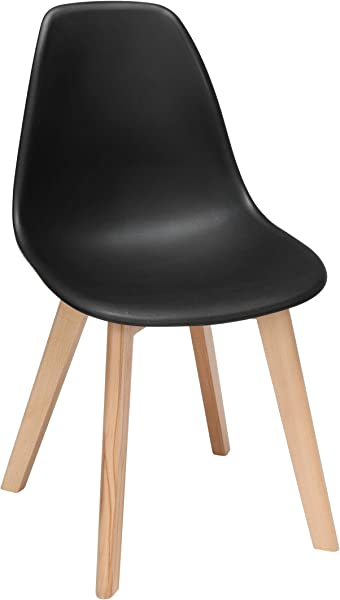 OFM 161 Collection Mid Century Modern 18 Plastic Molded Dining Chairs Solid Beechwood Legs 4 Pack In Black 161 P18B BLK 4
