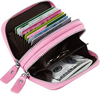 Women's RFID Blocking Credit Card Holder Leather Compact Accordion Walletpink