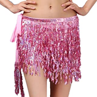 Vogue Belly Dance Hip Scarf Skirt Summer Beach Belt 4 Rows Sequins Fringe For Nightclub Cocktail Party