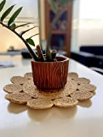 pepme Jute Round Placemat, Beige, Small Outer Circles for Dining Table, Bed Side Table, Tea Time, Restaurant (14 Inches,...